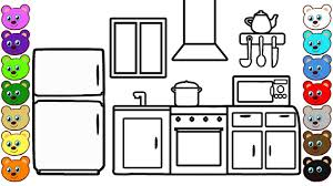 Small Picture Learning Colors for Kids with Kitchen Room Coloring Page for