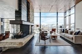 architectural studio pearson design group designed the mountain modern project located in montana usa this contemporary retreat offers breathtaking mountain homes interior r40 contemporary