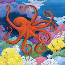 sea painting under the sea octopus by paul b