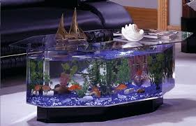 coffee table aquarium room decor with black leather sofa near awesome clear aquarium coffee table with