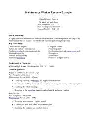 Maintenance Job Resume Objective Maintenance Resume Objective Statement Cover Letter General Sample