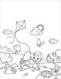 Boy With A Dog Flying A Kite Coloring Page Free Printable Coloring