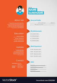 Curriclum Vitae Template Creative Curriculum Vitae Template With Orange Vector Image