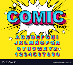 Blue Letters Comic Alphabet Retro Blue Letters Numbers For