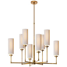 ziyi large chandelier in hand rubbed antique brass with natural paper shades