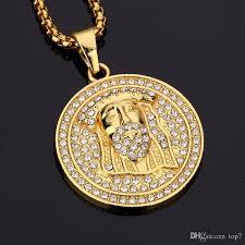 whole 2018 hot hip hop medallion pendant necklace diamond hip hop necklaces for men women 18k gold plated hip hop singer gifts star pendant