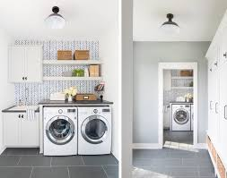 laundry furniture. The Lilypad Cottage Shared Their Own Revamped Laundry Room, Which Features Blue And White Wallpaper, Soft Grey Cabinets, Blue/grey Slate Flooring, Furniture
