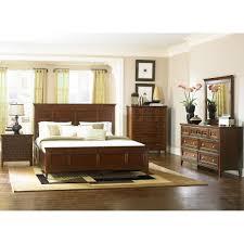 magnussen 4pc harrison queen size storage drawer bedroom set in cherry finish in
