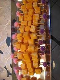 images fancy party ideas: fancy toothpicks in cheese cubes and fruit kabobs would be easy to glue sparkle poms