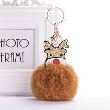 <b>Christmas Elk Fur Ball</b> Keychain Red Black Fake Rabbit Pompom for ...