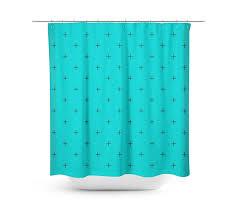 swiss cross turquoise shower curtain