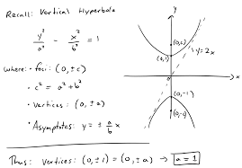 find the foci and equation of the hyperbola with vertices 0 1 and asymptote line y 2x