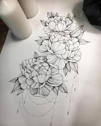 12462311 Peonies And Hydrangea Composition Linework Blackwork