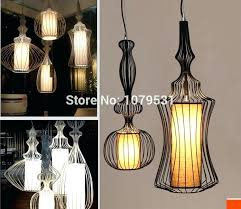black and white wire ceiling light wires wrought iron pendant lights linen silk shade birdcage lamps bedroom foyer re