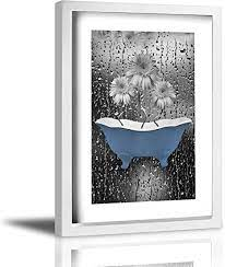 5 out of 5 stars (2,813) sale price $23.31 $ 23.31 $ 25.90 original price $25.90 (10% off) favorite add to. Amazon Com Coolertaste Blue Gray Bathroom Daisy Flowers Raindrops Rustic Canvas Wall Art Prints Framed Picture Wall Decor Vintage Bathroom Decor Ready To Hang 9 X 13 Kitchen Dining