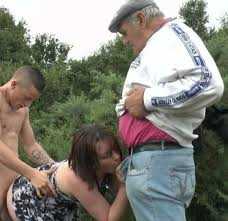 Papy and young couple