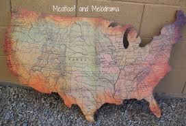 rustic usa wall map