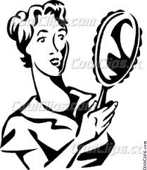 looking in mirror clipart. woman looking in a mirror clipart