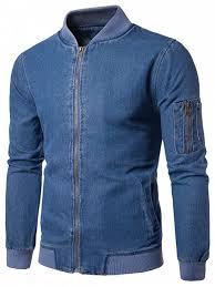 women stand collar zip up denim jacket blue xl