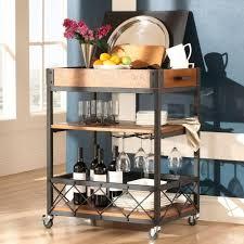 HomeSullivan Grove Place Rustic Pine Bar Cart with Wine Glass Storage