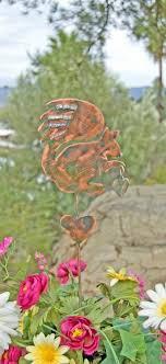 copper garden art. Squirrel Decor Garden Stake / Metal Art Yard Copper