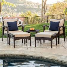 brown set patio source outdoor. Maui Outdoor 5-piece Brown Wicker Seating Set With Cushions Patio Source