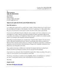 Brilliant Ideas Of Music Producer Cover Letter Sample Assistant