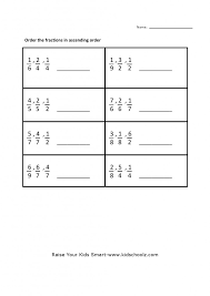 Kindergarten Grade 5 Fraction Ascending Fractions Worksheets ...