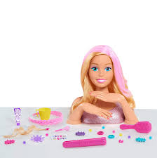 amazon barbie deluxe styling head blonde brown mailer toys games