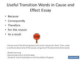transitions essays cause and effect transition words for essays coursework academic