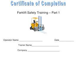 Forklift Safety Training Certificate Of Completion Template