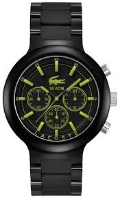 men s black lacoste borneo chronograph stainless steel watch 2010756
