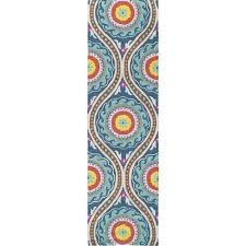 orange and blue area rug hillsby gray