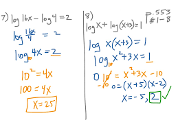7 5 solving logarithmic equations p 553 1 8 math algebra 2