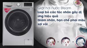 Máy giặt LG Inverter 8.5 kg FV1408S4V Model 2020 -Giặt nước nóng Khóa trẻ  em Giặt hơi nước Cho phép điều khiển máy giặt từ xa qua ứng dụng SmartThinQ