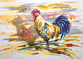watercolor painting demonstration of a rooster from artist jennifer branch watercolor painting tutorial by artist jennifer branch