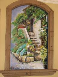 entryway niche filled with italian villa mural entry niche dispalys a painted mural of flowers overflowing the stairway to your door
