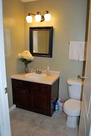 Bathroom Vanity Decorating Guest Bathroom Decor Ideas With Glass Bath Vanity With Drawers And