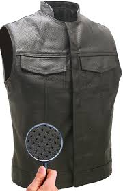 club style perforated leather biker vest tap to expand
