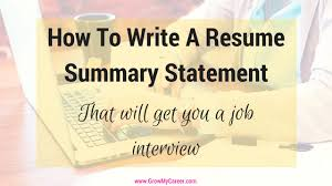 How To Write A Resume Summary Gorgeous Resume Summary Statement How To Write A Resume Summary Statement