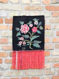 wool rug wall hanging small tapestry black red rug colorful wall hanging nursery decor tapestry woven