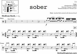 drums sheet music sober tool drum sheet music onlinedrummer com
