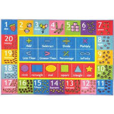 multi color kids children bedroom math symbols numbers shapes educational learning 8 ft x
