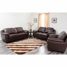 Top Grain Leather Living Room Set Abbyson Living Cosmopolitan 3 Pc Top Grain Italian Leather Living