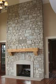 Interior. beige Fireplace Base Ideas added by brown wooden mantel shelf on  grey stone fireplace