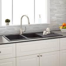 46 tansi double bowl drop in sink with drain board black kitchen regarding sinks drainboards decor