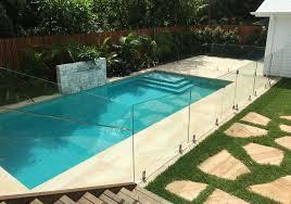 tropical landscaped pool glass fence sydney