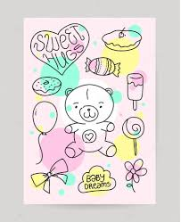Birthday Cards Design For Kids Kids Hand Drawn Greeting Card Design With Doodle Teddy Bear Sweet