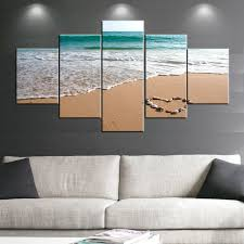 5 panels romantic sea sand beach oil painting wall art pictures photo on canvas prints stretched
