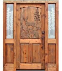 custom hand carved wood doors with decorative side glass insert